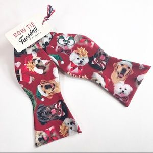 Other - Dog Print Red Christmas Bow Tie NWT